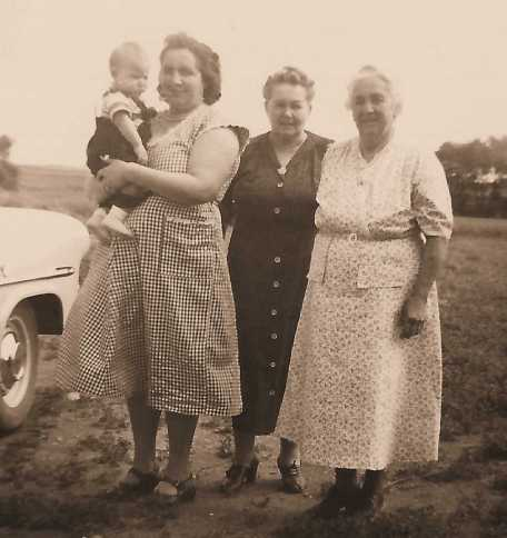Clarence and His Mother Hermione, His Grandmother Gertrude Nicoli and Great Grandmother Henrietta (Wolski) Koehn