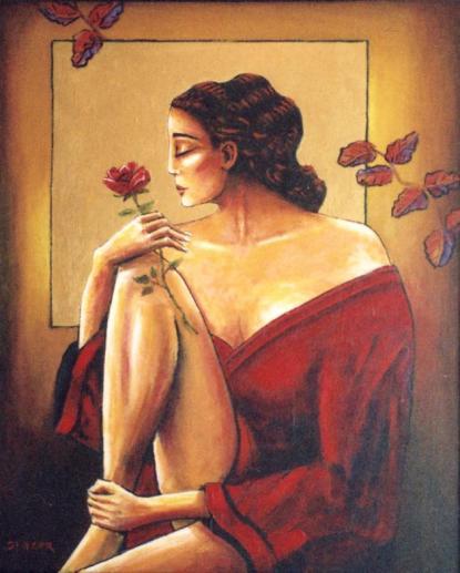 A Rose For My Love Original Acrylic Artwork By Stuart Glazer www.stuartglazer.com