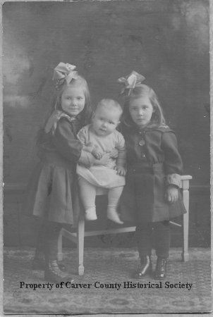 Dorothy & Lucille Holm Holding Their Little Brother, Clarence