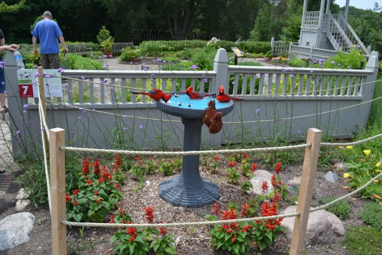 Cardinal & Squirrel Birdbath Minnesota Arboretum Lego Exhibit Photo - Clarence Holm 7/5/2015