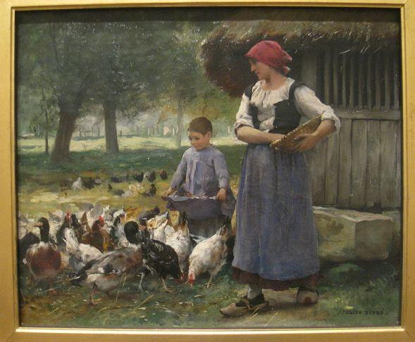 Farm Girl Feeding Chickens by Julien Dupre (1851-1910)