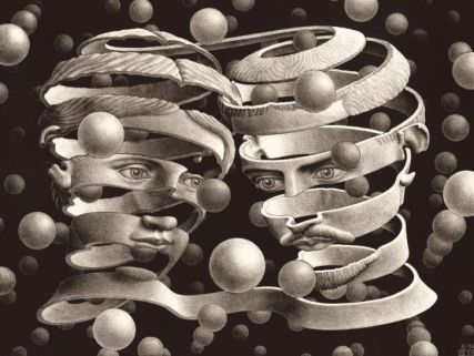 M. C. Escher. Bond of Union (detail), April 1956, lithograph, 10 x 13 3/8 in., National Gallery of Art, Washington, Cornelius Van S. Roosevelt Collection, 1974.28.62, © 2015 The M. C. Escher Company, The Netherlands. All rights reserved. www.mcescher.com
