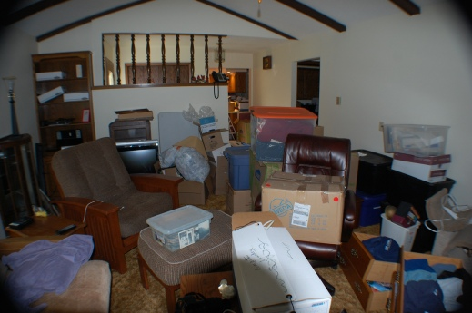 One of ten box filled rooms In our new home (and I still can't find my keys!)