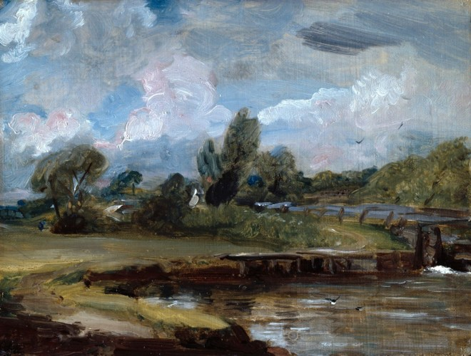 Constable, John; Flatford Lock, A Path by a River